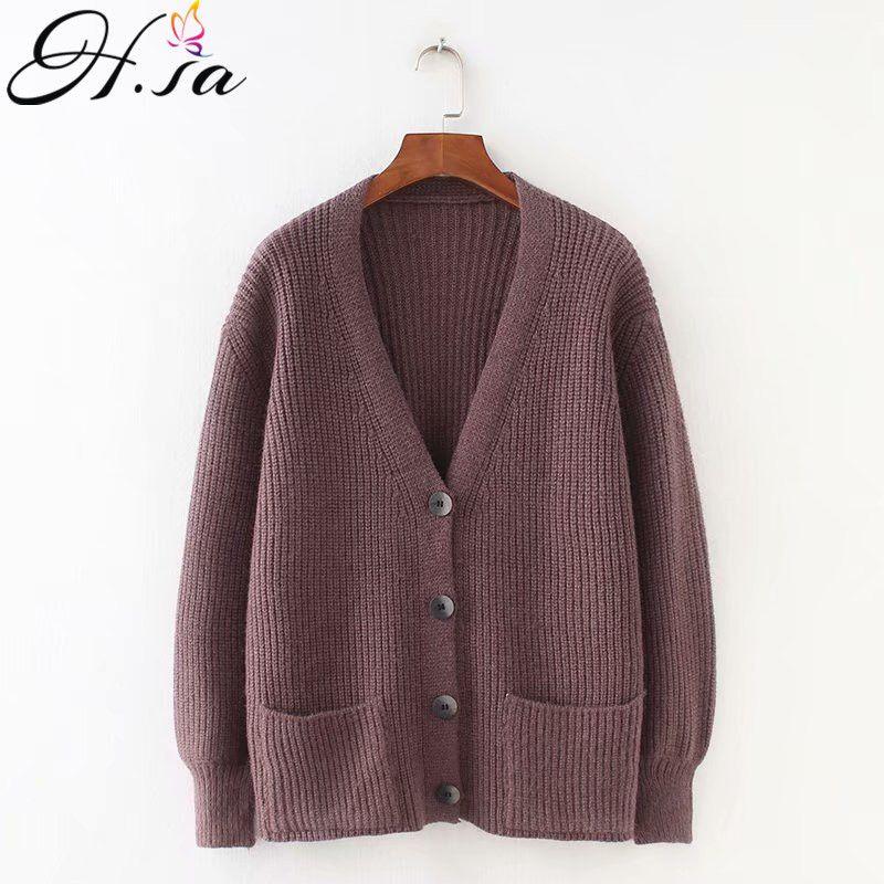 H. SA 2019 femmes Cardigans chandail col en V solide lâche tricots simple boutonnage décontracté tricot cardigan d'extérieur veste d'hiver manteau