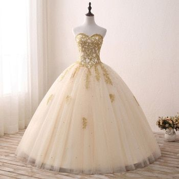 Quinceanera Dresses Tulle Withh Gold Appliques Lace Sweet 16 Dresses Ball Gowns  Champagne Vestidos De 15 Anos Debutante