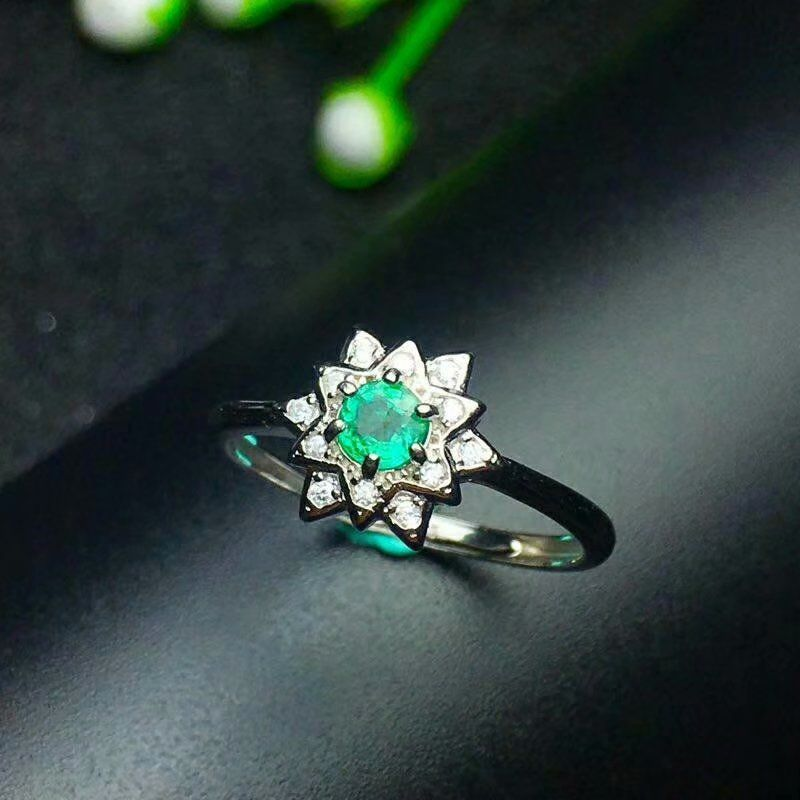 shilovem 925 sterling silver Natural Emerald Ring fine Jewelry Customizable women trendy wedding open wholesale lj040401agml