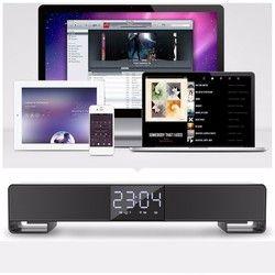 LP-C17 Desk Cloc Bluetooth Sound Bar Speaker Dual Loudspeaker Alarm-clock Handsfree Call AUX TF Wireless Home Theater Speaker