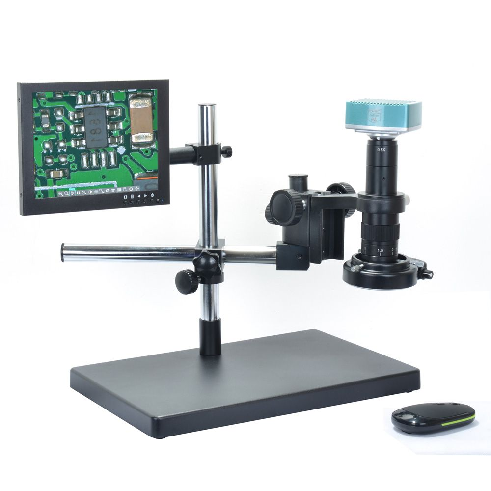 1080P HDMI Full HD USB Digital Industrial Microscope Camera + 180X C-mount Lens + Big Boom Stand Holder+ LED Light
