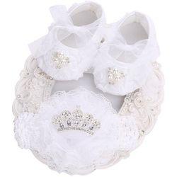 Blanc Enfant Fille Chaussures Vintage Accessoires Parti baptême Ensemble, Infantile Chaussures Ballerine Chaussons, Nouveau-Né Strass Chaussures Pour Enfants