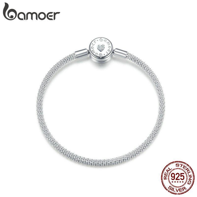 Bamoer pop-corn chaîne Bracelet pour perles Signature graver marque Stelring argent bijoux Fit pour Original argent charme BSB014