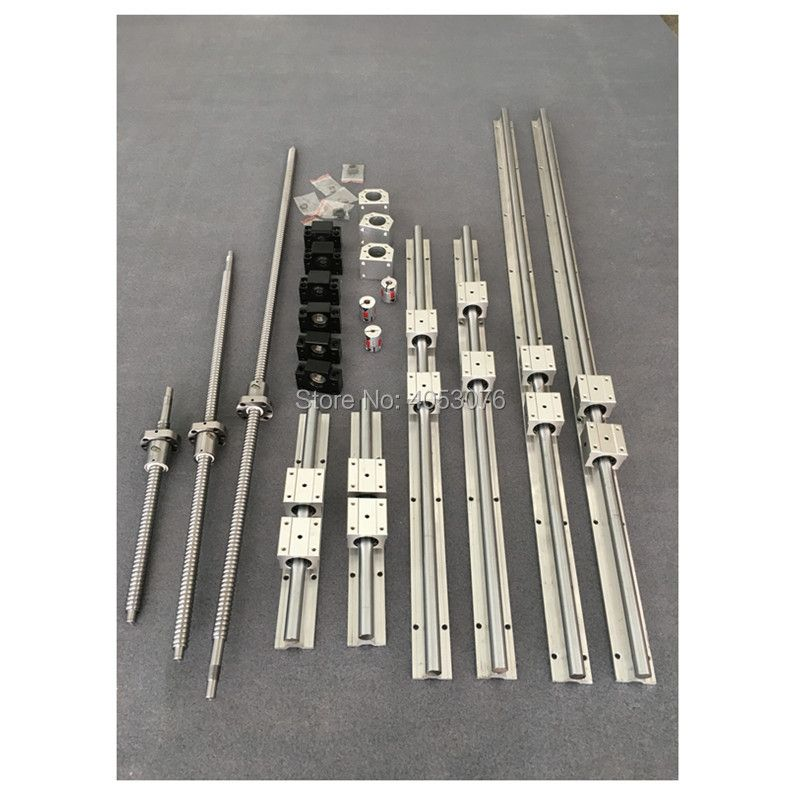 SBR16 linear rail 6 set linear guide SBR16+SFU1605-300/600/1000mm ballscrew+BK12/BK12+Nut housing+Coupler for cnc parts