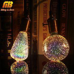 Светодиодные лампочки 3D лампы светодиодные украшения, стилизованные под языки пламени 110 220 V ST64 G95 G80 G125 A60 бутылка в форме сердца E27 Праздничн...