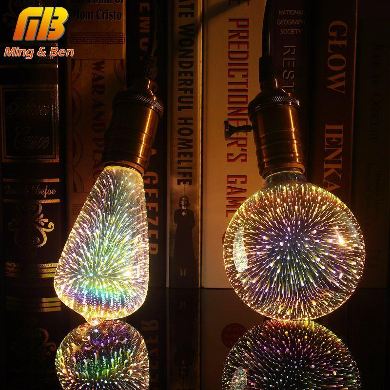 [MingBen] светодио дный лампочки 3D украшения лампы 85-265 В ST64 G95 G80 G125 A60 бутылка сердце e27 Праздничные огни Новинка Рождественские лампа