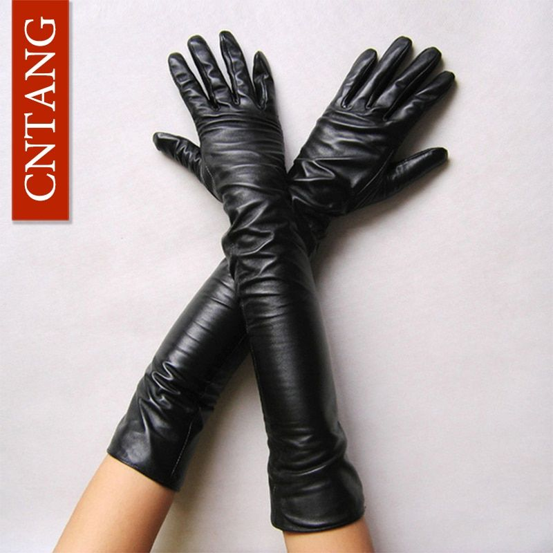 New 2017 Women Fashion Gloves Black Long Leather Gloves 40cm & 50cm Women's Mittens Winter Ladies Leather Gloves
