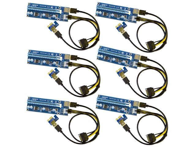 6-Pack Ver006C Mining Riser Card USB 3.0 PCI-e Express PCIE Riser Card SATA to 6Pin Power Cable Monero BTC ETH Bitcoin Miner