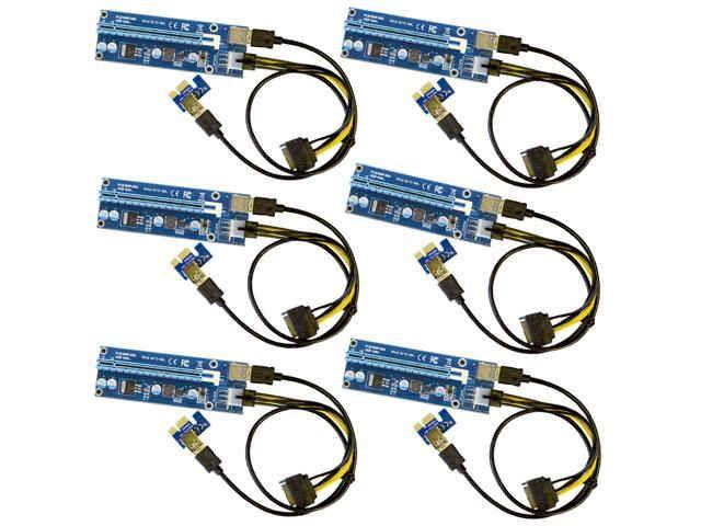 6-Pack Ver006C Mining Riser Card USB 3.0 PCI-e Express PCIE Riser Card SATA to 6Pin Power Cable Monero BTC ETH Bitcoin Miner