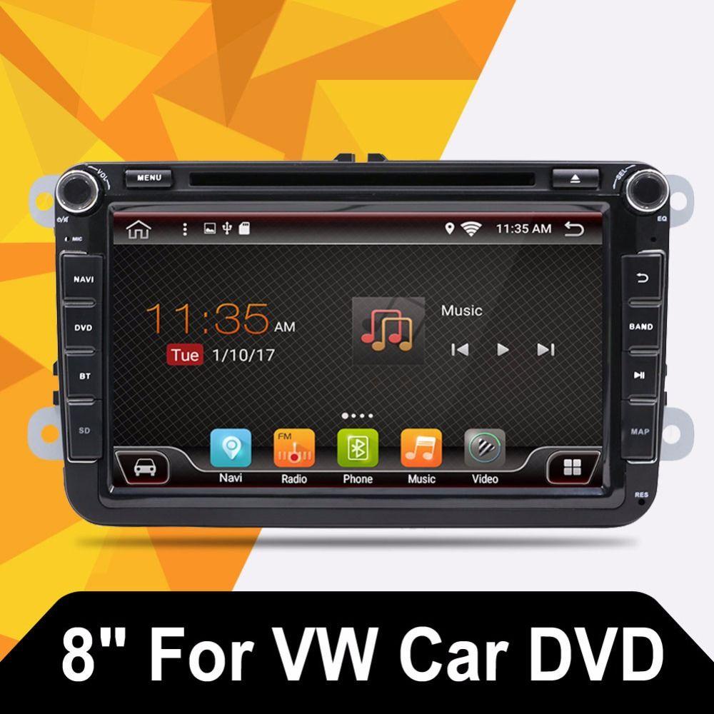 Android 7.1 2 DIN Car DVD for VW JETTA GOLF MK5 MK6 GTI PASSAT B6 POLO SKODA Fabia GPS Navigation Radio USB/SD PC country map