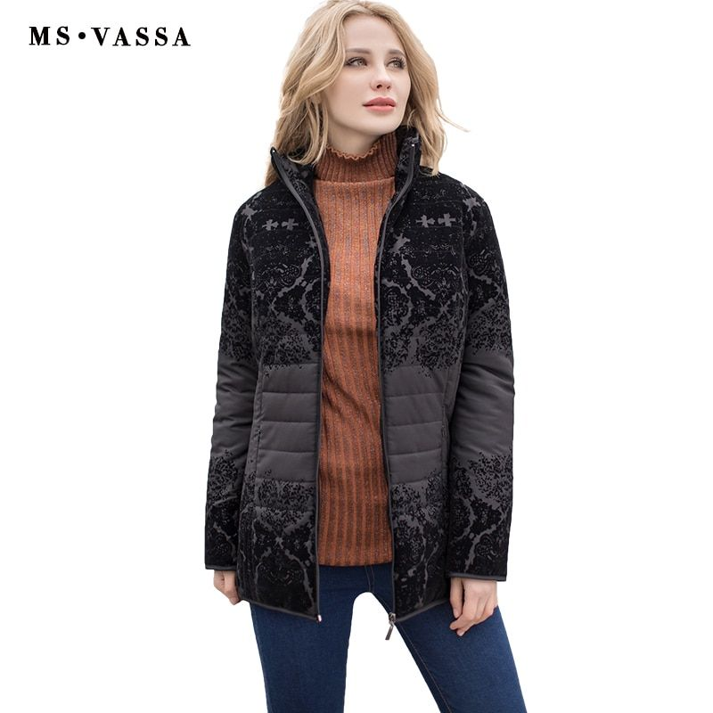 MS VASSA Women jacket 2017 fashion Autumn Winter ladies casual jacket with flock turn-down collar plus size S - 7XL outerwear