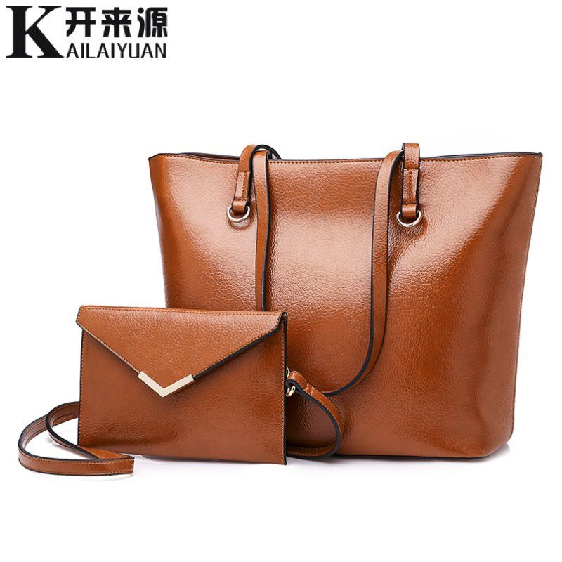 KLY 100% Genuine leather Women handbags 2018 New European fashion ladies handbags simple wild shoulder bag Detachable double bag