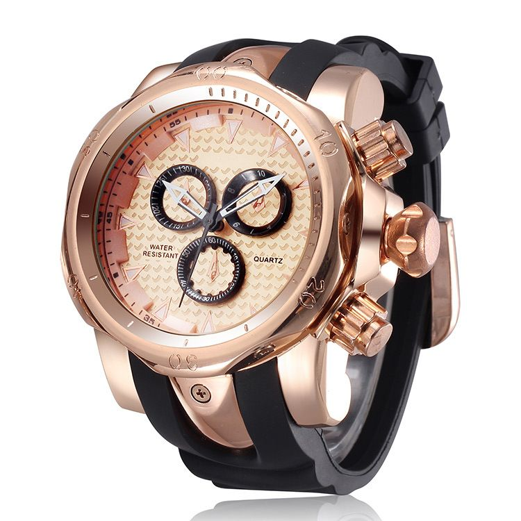 2016 Golden Luxury Watch Rubber Sports Watch Fashion Casual Quartz Men Wristwatch Clock Hours <font><b>saat</b></font> Relogio Masculino