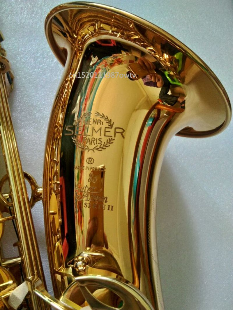 2018 New free France Selmer Sax Professional Bb Tenor Saxophone Instruments Super Action 80 Series II Gold Plated Surface