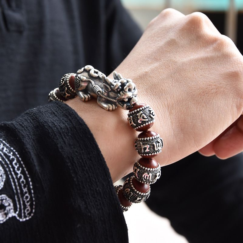 999 Sterling Silber Retro Sechs-wort Mantra Perlen Armband für Männer Frauen 12 Perlen Palisander Pixiu Armband Herz Silber schmuck