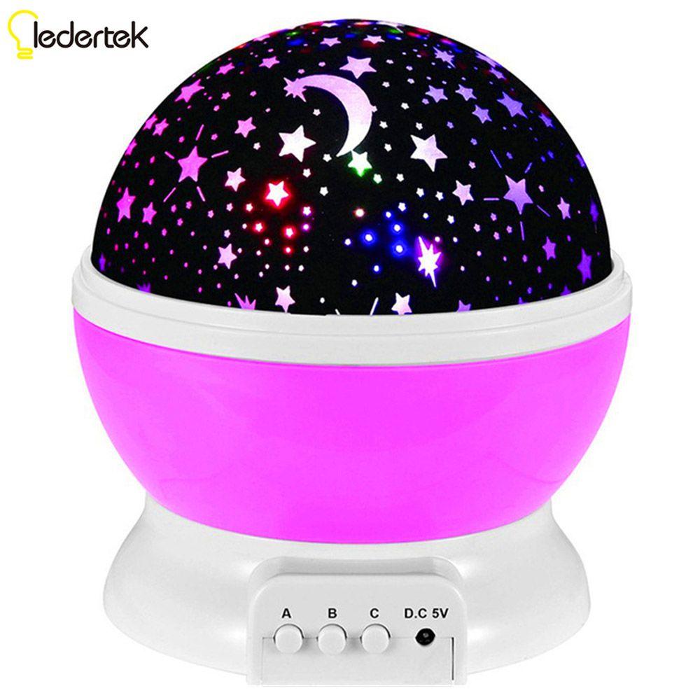 LEDERTEK Star Moon Sky Rotation Night Light Romantic Projector Light Projection with High Quality For Kids Room LED Lamp (Pink)