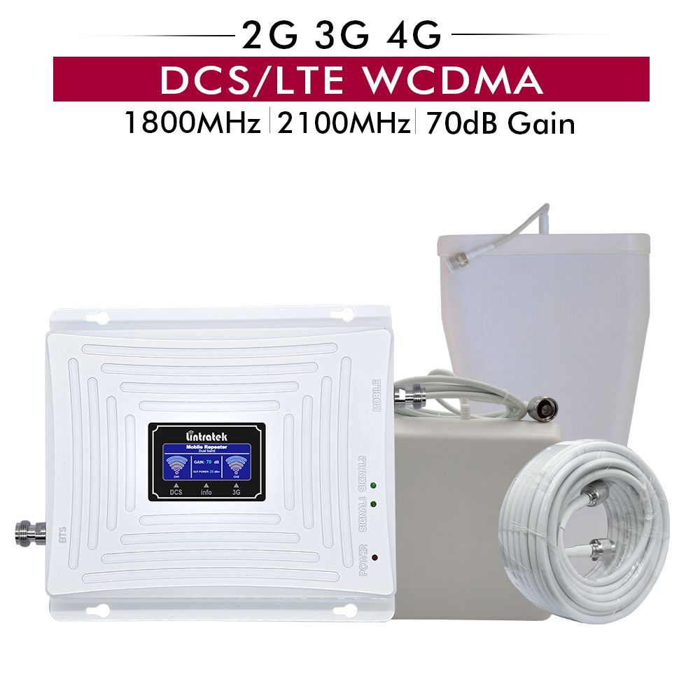 70dB Gain 20dBm Dual Band 4G DCS/LTE 1800 Band 3+Band 1 3G WCDMA 2100 MHz Mobile Phone Signal Cellular Booster Repeater full set