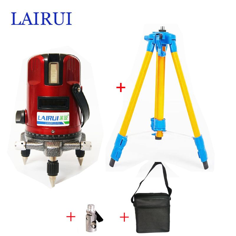 lairui brand 5 lines 6 points laser level 360 degree rotary <font><b>cross</b></font> laser line level 635nm with outdoor mode tripod available