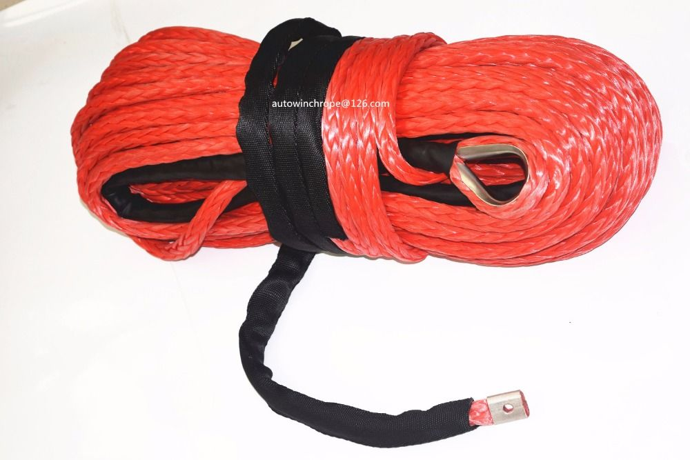 Red 16mm*28m Synthetic Winch Rope,ATV Winch Cable, Off Road Rope for Winch Accessaries,4x4 Off-road Cable