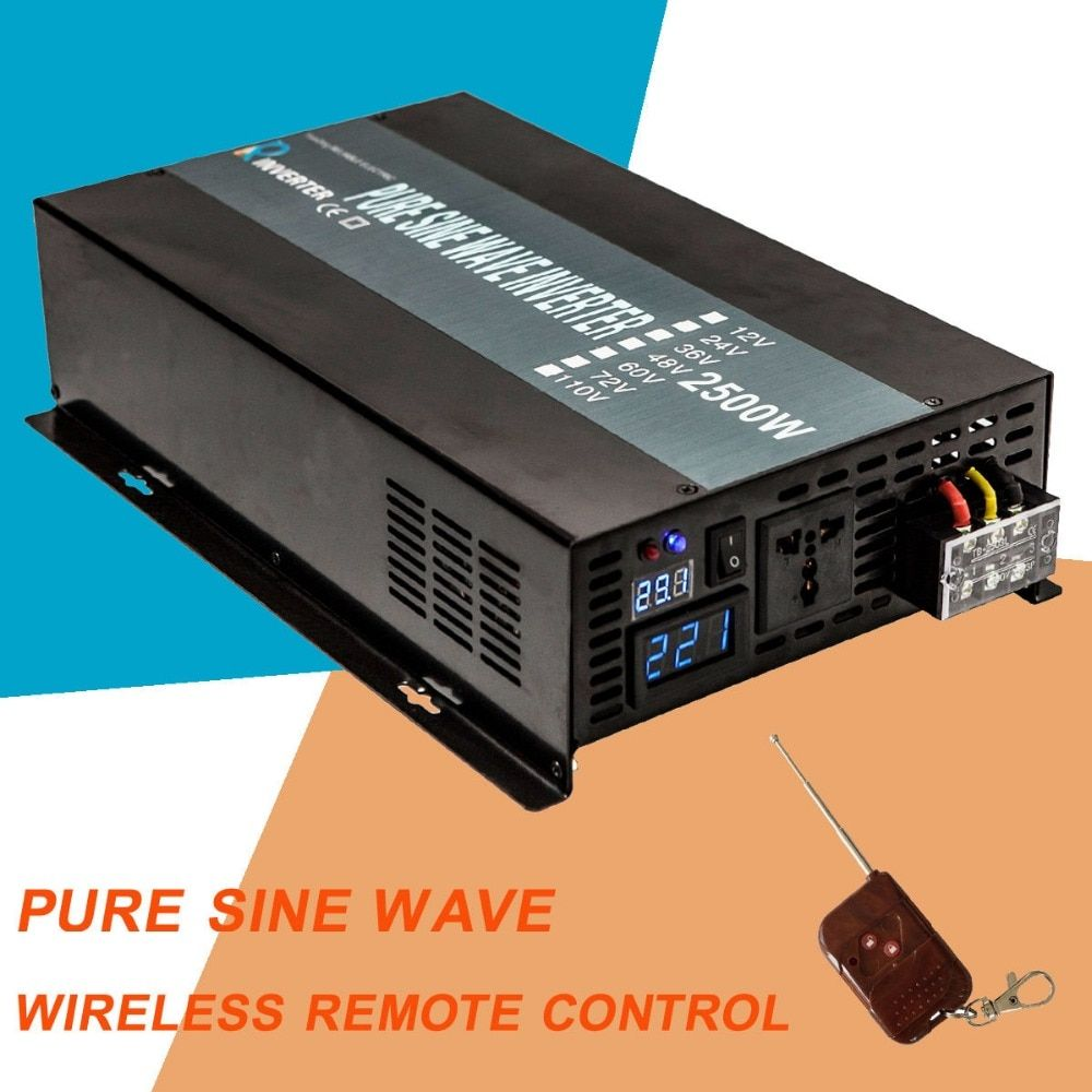 2500W Solar Power Inverter 12 220 Pure Sine Wave Inverter Voltage Converter 12V/24V/48V DC to 120V/220V/240V AC Remote Control