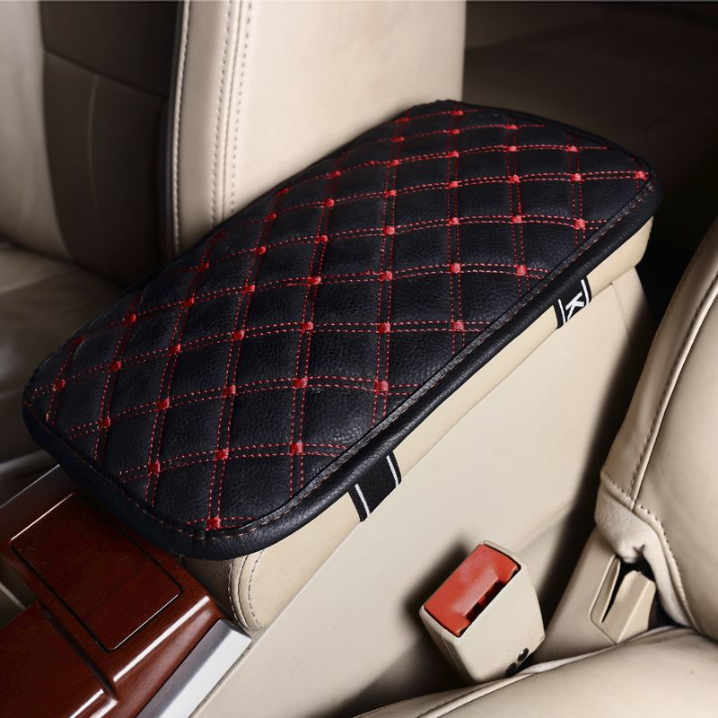 Leather Car Armrest Pad Covers Universal Center Console Auto Seat Armrests Box Pads Black Armrest Storage Protection Cushion