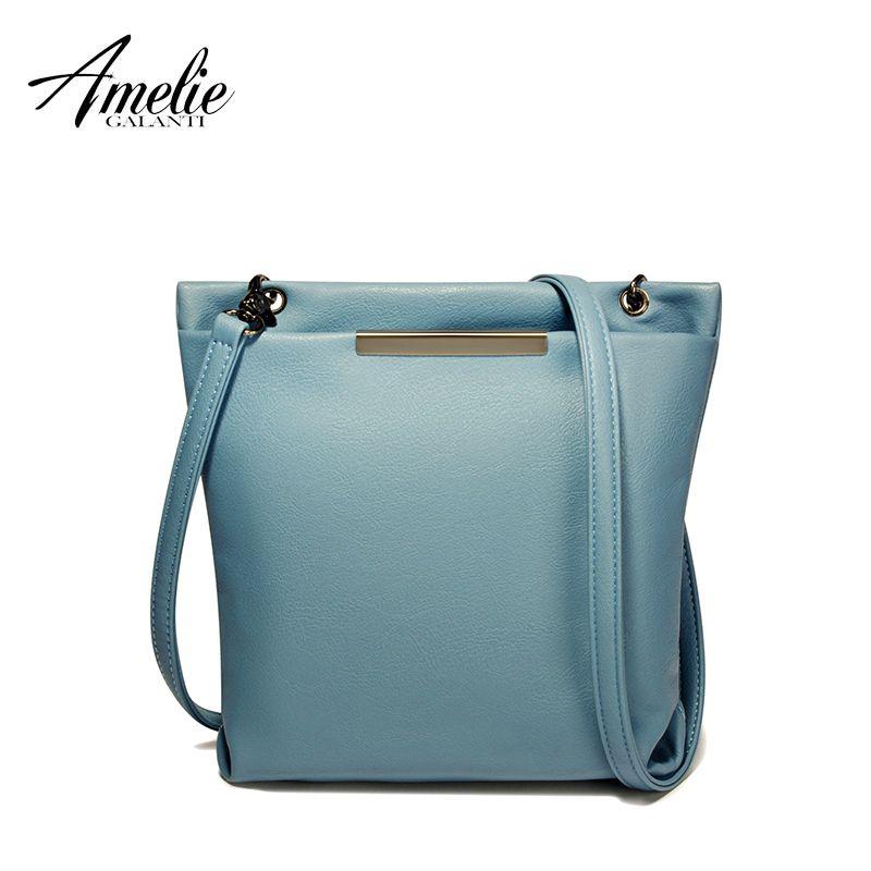 AMELIE GALANTI casual crossbody bag falp pu messenger bags metal decoration women solid zipper soft versatile new shoulder bag