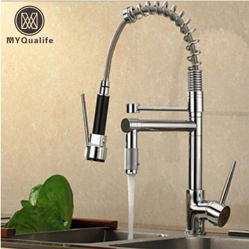 Chrome Finish Dual Spout Kitchen Sink Faucet <font><b>Deck</b></font> Mount Spring Kitchen Mixer Tap Kitchen Hot and Cold Water tap