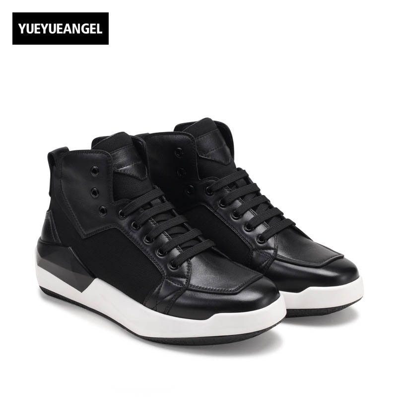 2018 Winter Punk Vintage Match Color New Fashion Mens Round Toe Ankle Boots Lace Up Genuine Leather Cow Male Shoe Wedge Heel