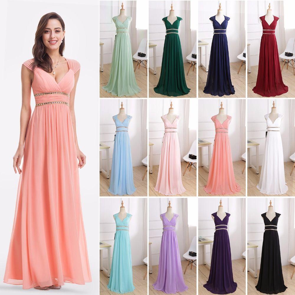 Formal Evening Dresses Long EP08697 Ever Pretty Women Elegant Navy Blue White V neck Sleeveless Empire Evening Dresses 2018 New