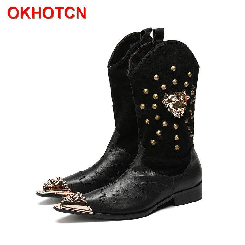 Leder Lässige Geschnitzte Herren Cowboy Stiefel Hohe Warme Britischen Ritter Stiefel Slip Auf Nieten Koreanische Punkt Eisen Kappe Mens Knie hohe Stiefel