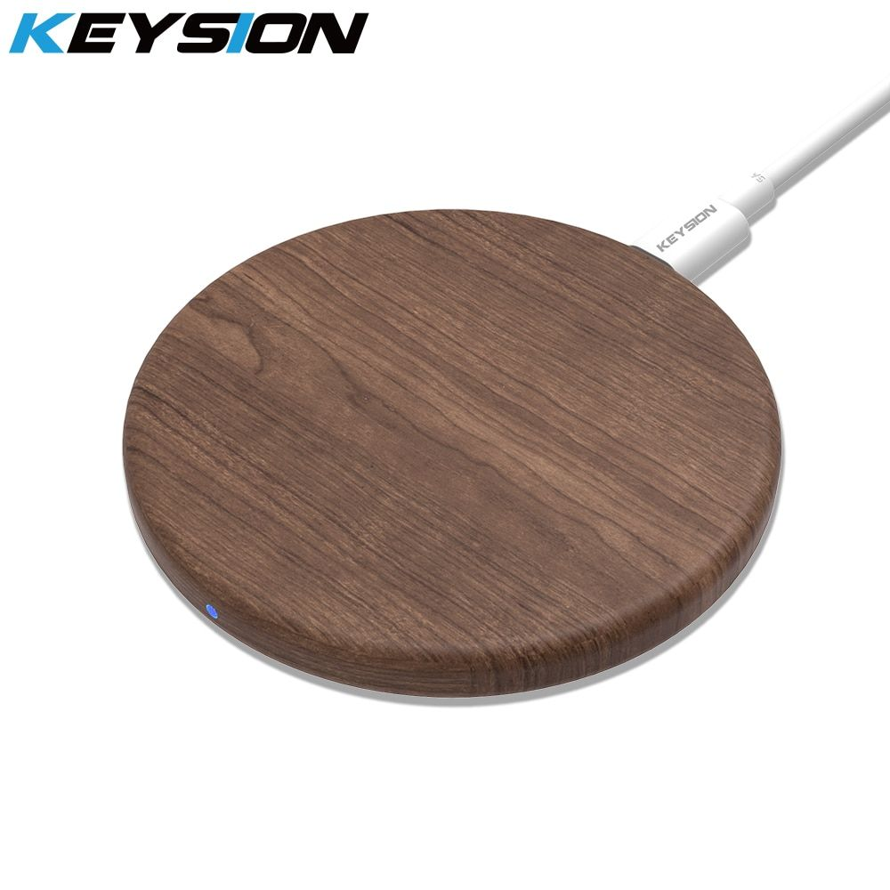 KEYSION Wooden 10W Qi Fast Wireless Charger for iPhone XS Max XR X 8 Plus Wireless Charging Pad for Samsung S10 S9 Xiaomi mi 9