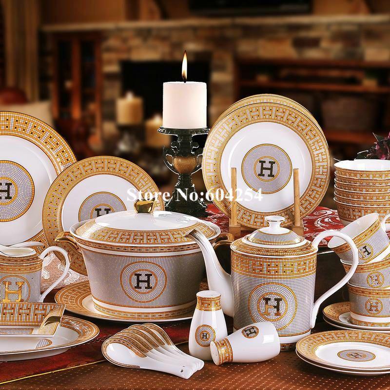 58 pcs european stlye ceramic dinnerware set Gold-rimmed tableware set bone china bowls plates sets housewarming gift