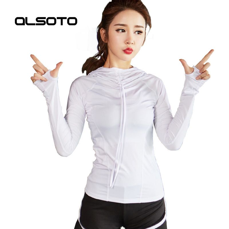 ALSOTO Autumn Women Running Jacket Hooded Fitness Yoga Quick-drying Sexy Solid Color Gym Sports Long Sleeves Tops