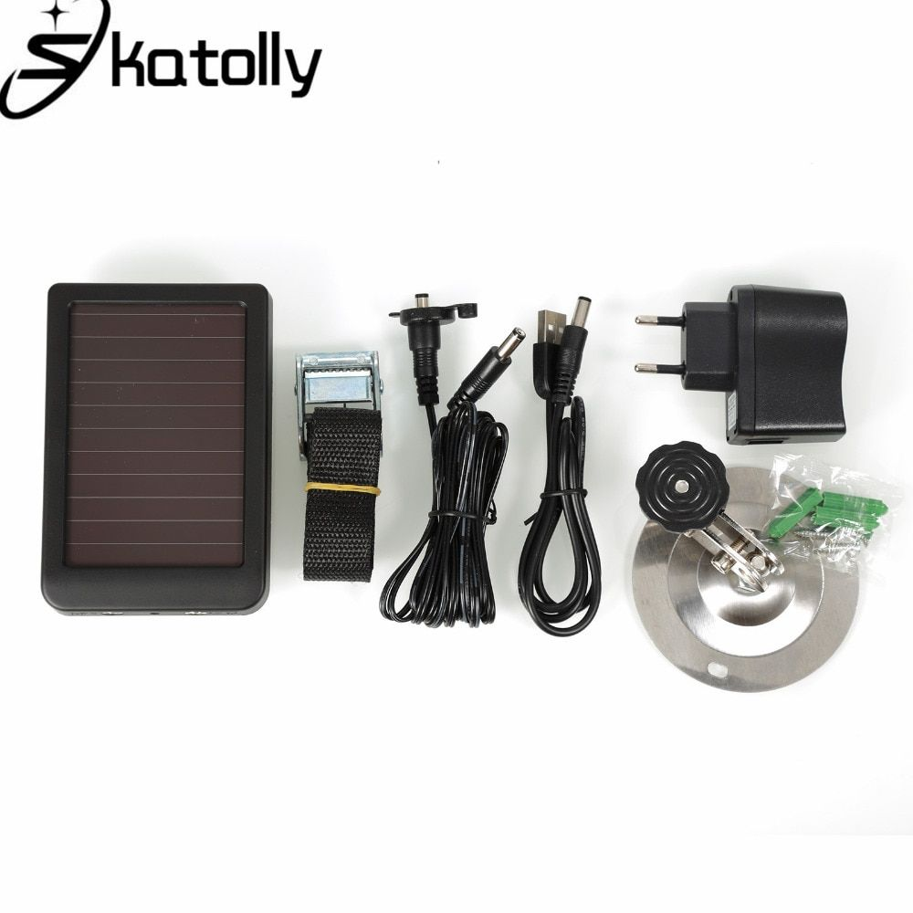 Skatolly 1500mAh Solar Panel Charger EU Plug Battery Power Bank For Hunting Cameras HC300 HC300M HC500 Series Scouting Camera