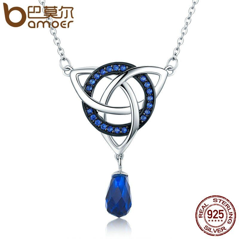BAMOER Genuine 925 Sterling Silver Infinity Love Round Droplet Zircon Pendant Necklaces Women Sterling Silver Jewelry SCN164