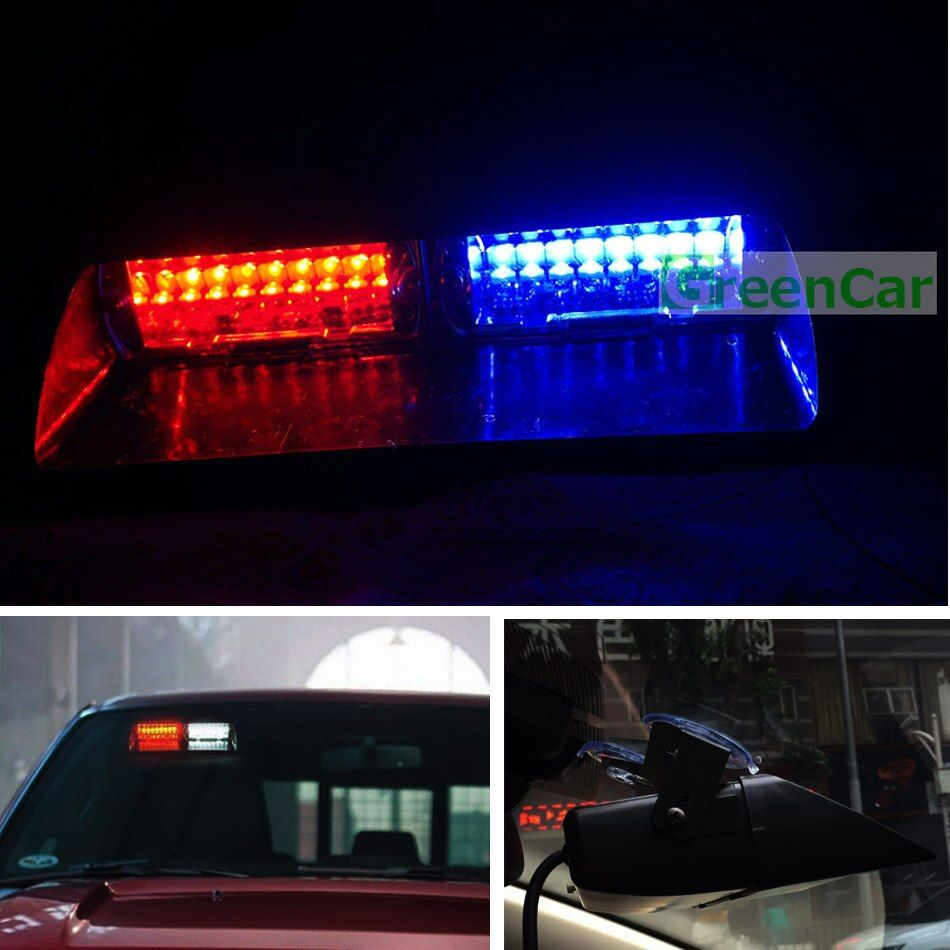 1pc 48W LED Car Windshield Warning Light S2 Viper Strobe Flash Signal Ambulance Fireman Police Beacon Light Red Blue Amber