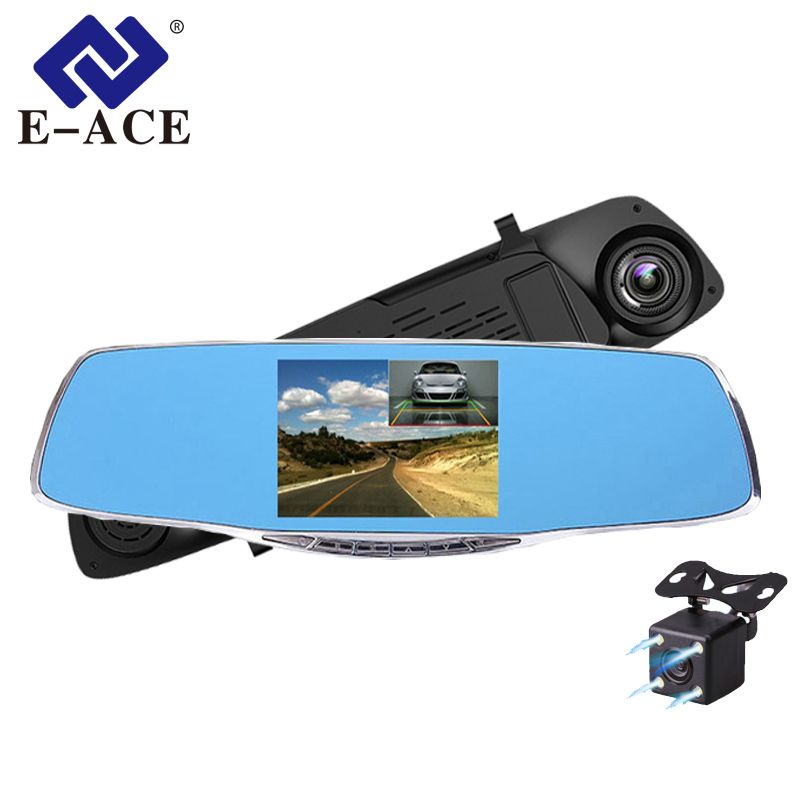E-ACE Full HD 1080P Car Dvr Dash Cam Auto Rearview Mirror 4.3 Inch Dual Lens Video Recorder Dvr Regist Camcorder Car Camera