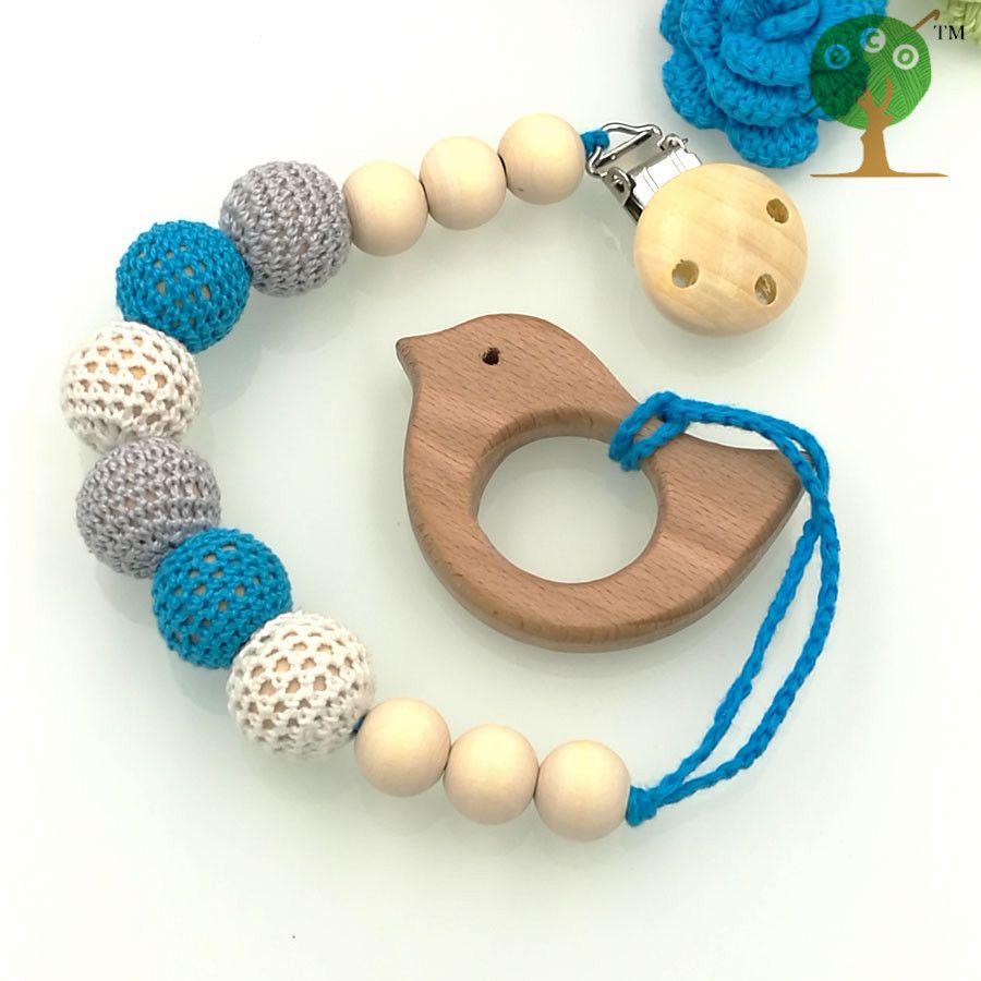 Cielo Azul bebé mordedor bebé Chupete Clip Titular de haya con Forma de pájaro Colgante Maniquí titular de cuentas Crochet recién nacido regalo NT133
