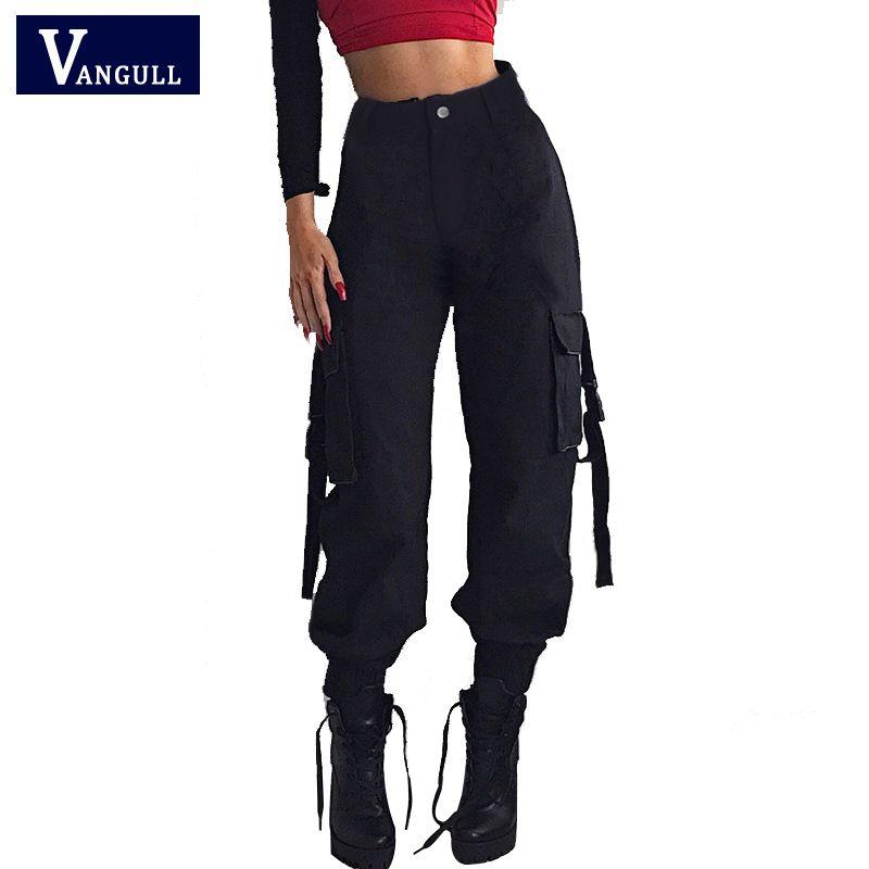 Vangull noir taille haute Cargo pantalon femmes poches Patchwork lâche Streetwear crayon pantalon 2019 mode Hip Hop femmes pantalon