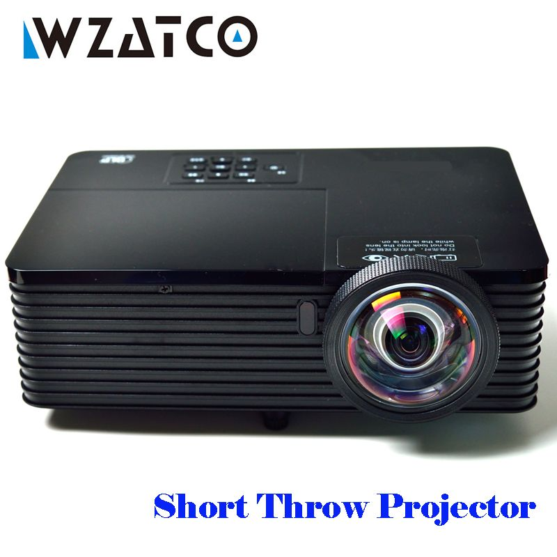 WZATCO 6000Lumen Short Throw 3D DLP Projector Beamer Proyector Full HD 1080P 300i Business Meeting Education Android 7.1 Options
