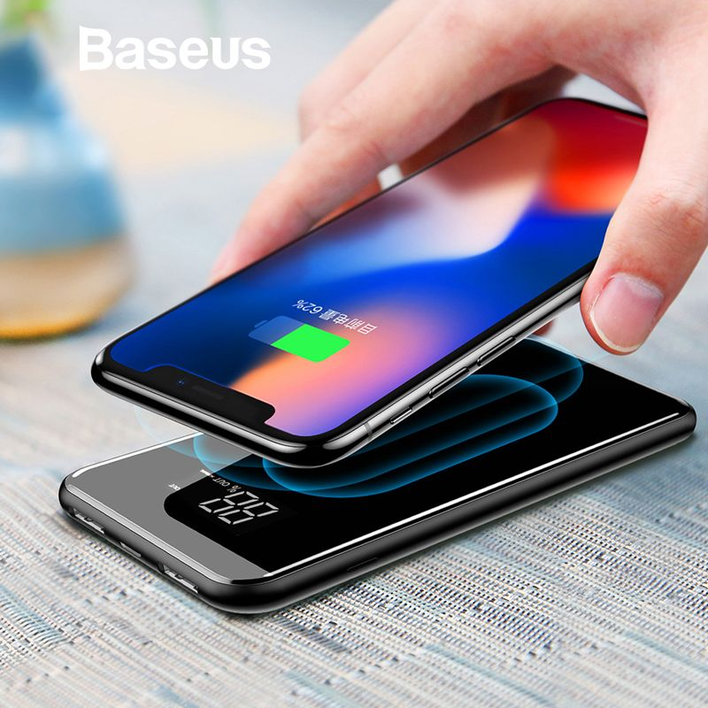 Baseus 8000 mAh QI Drahtlose Ladegerät Power Bank Für iPhone Samsung Power Dual USB Ladegerät Drahtlose Externe Batterie Pack Bank