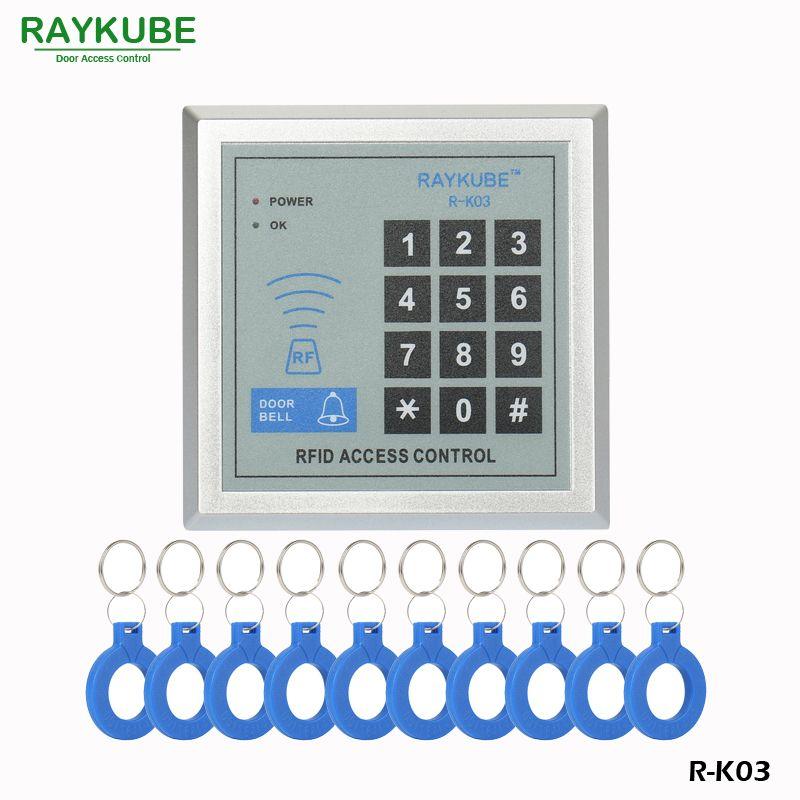 RAYKUBE Lector RFID Teclado de Control de Acceso de Entrada de Proximidad Bloqueo de La Puerta + 10 unids Mandos Para Casa/Oficina/Casa mejora R-K03