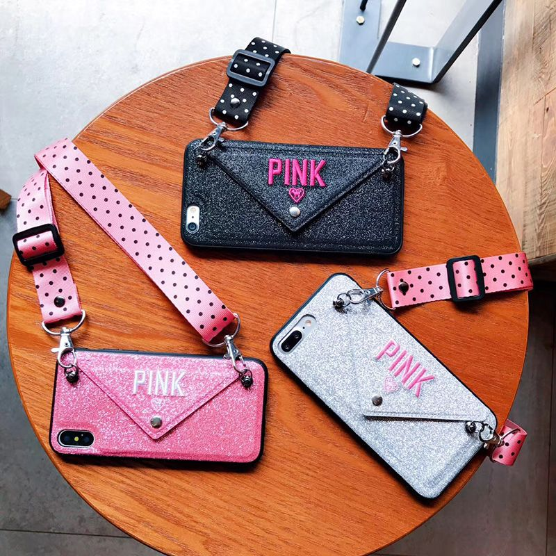 Luxury PINK Glitter Embroidery Leather Case for iPhone 7 7Plus Fashion Wave Point Lanyard Case For iphone XS Max X 8 6 6s Plus For Apple iphone 11 pro max 11 funda