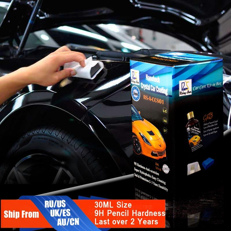 Rising Star RS-A-CCS01 Liquid <font><b>Glass</b></font> 9H Nano Hydrophobic Ceramic Coating Car Care Wax Crystal Car Coating 30Ml Kit for Demo Test