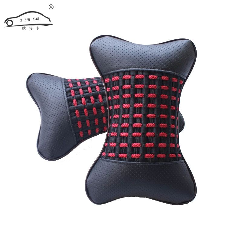 2 PC Summer ice silk breathable car pillow/PU Leather Soft Perforating Design Car Auto Seat Head Neck Rest Headrest