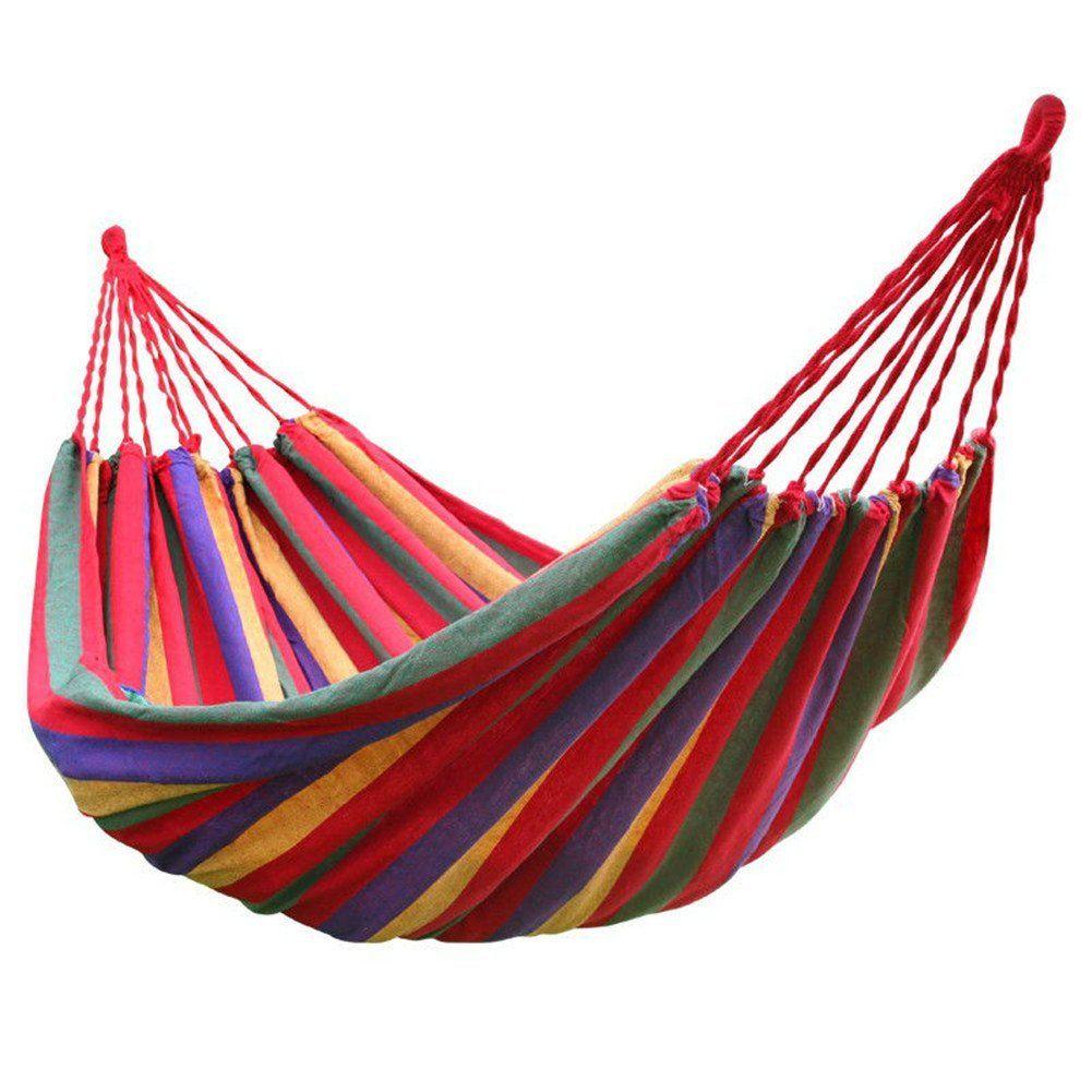 Offre spéciale arc-en-ciel loisirs de plein air Portable hamac toile hamacs ultra-léger Camping hamac avec sac à dos