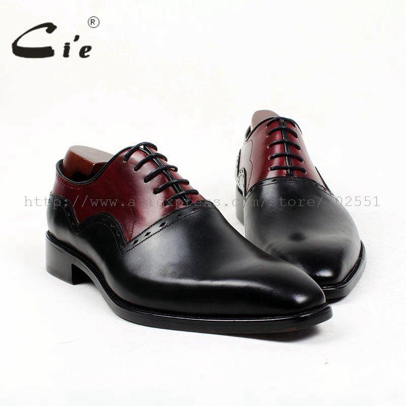 cie square plain toe black wine handmade pure genuine calf leather outsole breathable men's dress oxford bespoke men shoe OX407