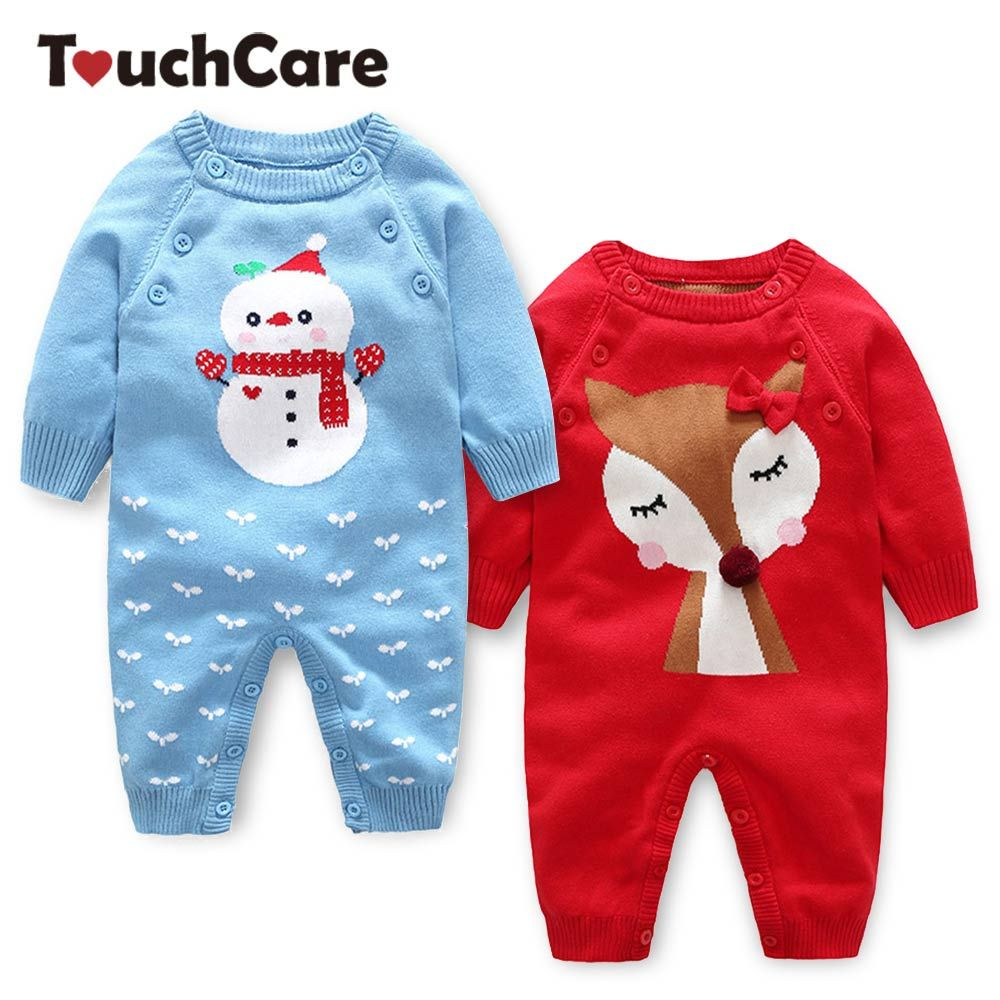Touchcare Newborn Knitted Sweater Romper Baby Boys Girls Jumpsuit Infant Autumn Winter Overalls Christmas Snowman Coveralls