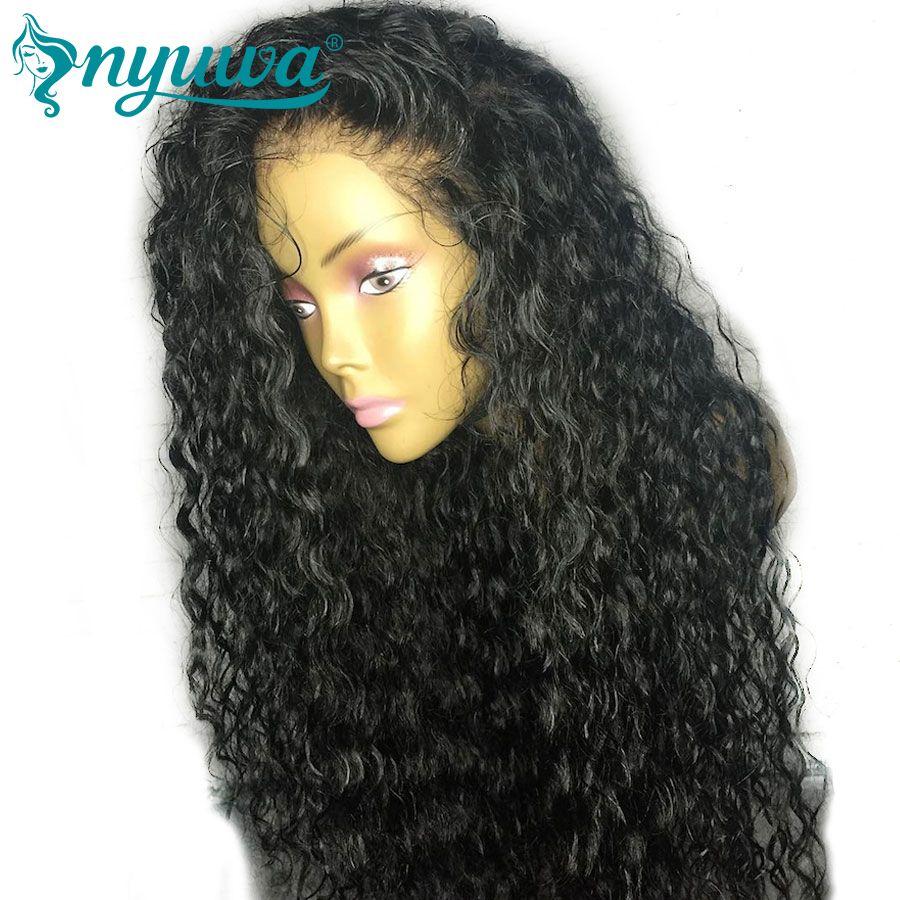Предварительно сорвал волна воды full Кружево Человеческие волосы Искусственные парики с ребенком волос естественной линии роста волос nyuwa в...