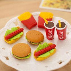 Wholesale! 5pcs Cute Kawaii Cake Hamburger Food Drink Coke Eraser Set Stationery School Office Erase Supplies Fruit Kids Gift